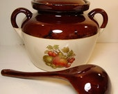 McCoy Pottery Bean Pot Tureen Covered Casserole with Ladle 342 Fruit Festival Pattern 1970s Brown mirror glaze