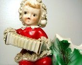 Vintage Christmas Figurine 1950 Candy Dish Spaghetti Trim Red Green