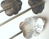 Vintage Sterling Spoons 925 Silver 1940s Hand Etched leaf shaped spoons Set of 8