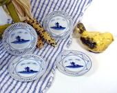 Vintage Bavarian China Blue White Windmills Set of 4 Porcelain