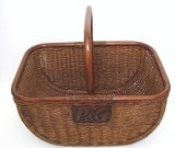 Vintage Gathering Basket 1940s Brown Wicker Advertising