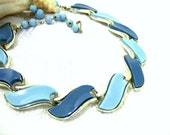 Vintage Blue Thermoset  Necklace 1950s Coro Retro Blue & Silver Choker Lucite