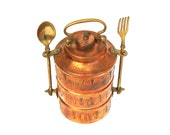 Vintage Copper Tiffin Stack Lunch Pail Carrier Engraved Tinkat