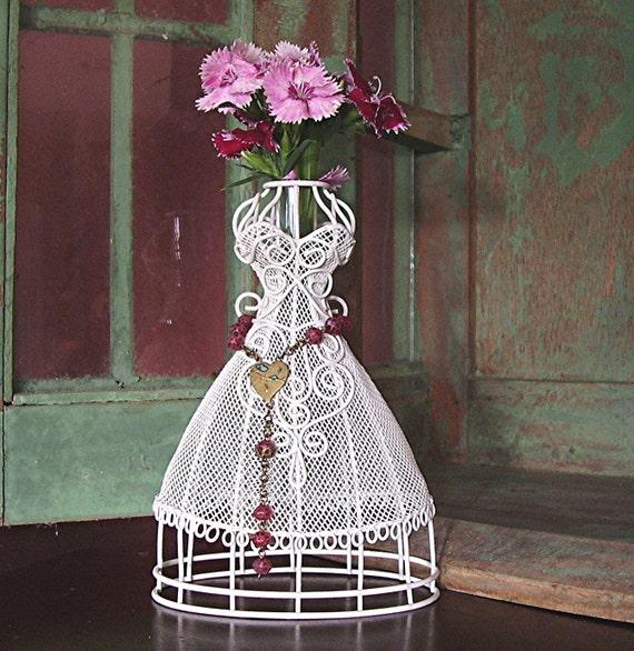 Victorian Bride Dress Form Vase Antique Rosary Bead Trim
