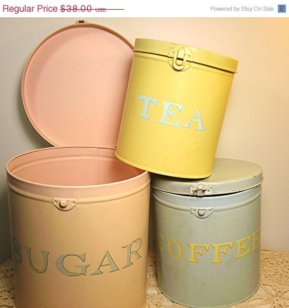 RESERVED SOLD Vintage Kitchen Canister Set Shabby Cottage Pastel Colors