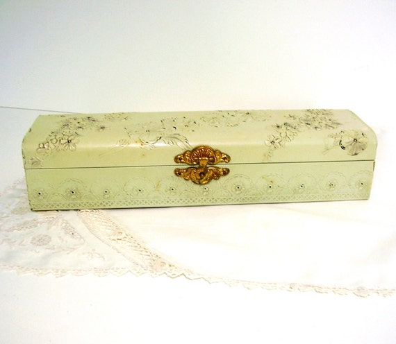 RESERVED Antique Glove Box Ladies Celluloid Mint Green Shabby Cottage Chic
