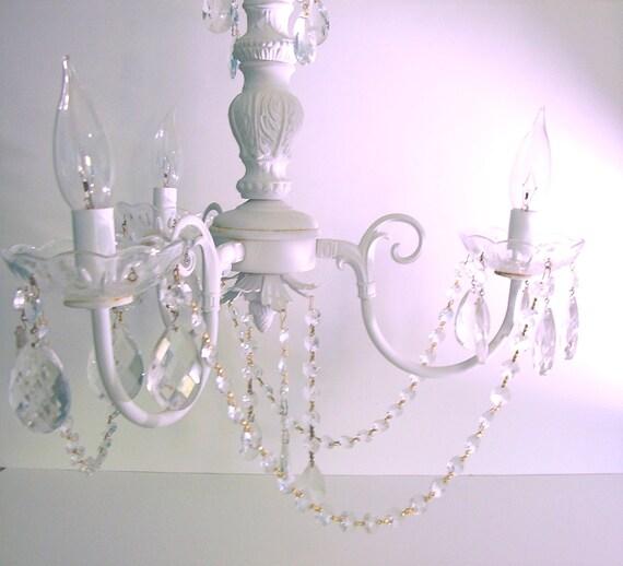 antique chandelier white 1930s lighting shabby chic vintage
