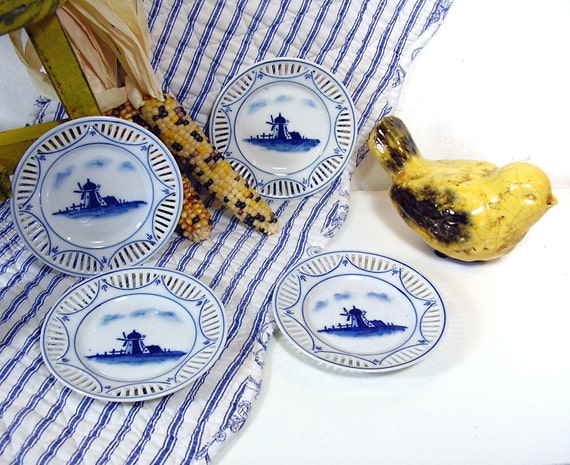 Vintage Blue and White China Berry Bowls 4 Antique Bavarian Porcelain Small plates Reticulated Border Windmills