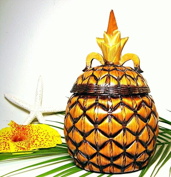 Vintage Pineapple Basket Retro Tiki Tropical Rattan Bamboo Home Decor