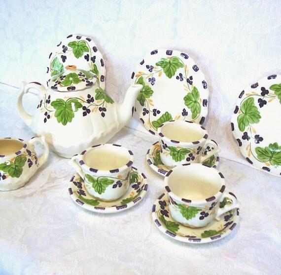 Vintage Erwin Pottery Rare Toy Tea Set Ceramic Home and Garden