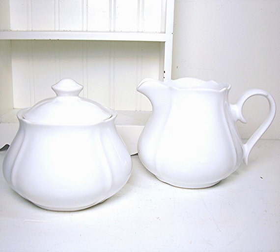 Vintage Ironstone White Creamer and Sugar Bowl Set Shabby Chic Cottage
