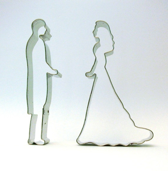 Reserved vintage wedding tin cookie cutters bride groom for Wedding dress cookie cutters