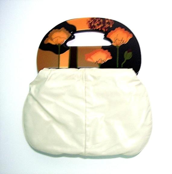 Vintage MoonBag Purse Off white Leather Designer Handbag Ladies Fashion