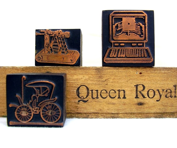 Printers Blocks Letterpress Wooden Typeset Copper Set of 3