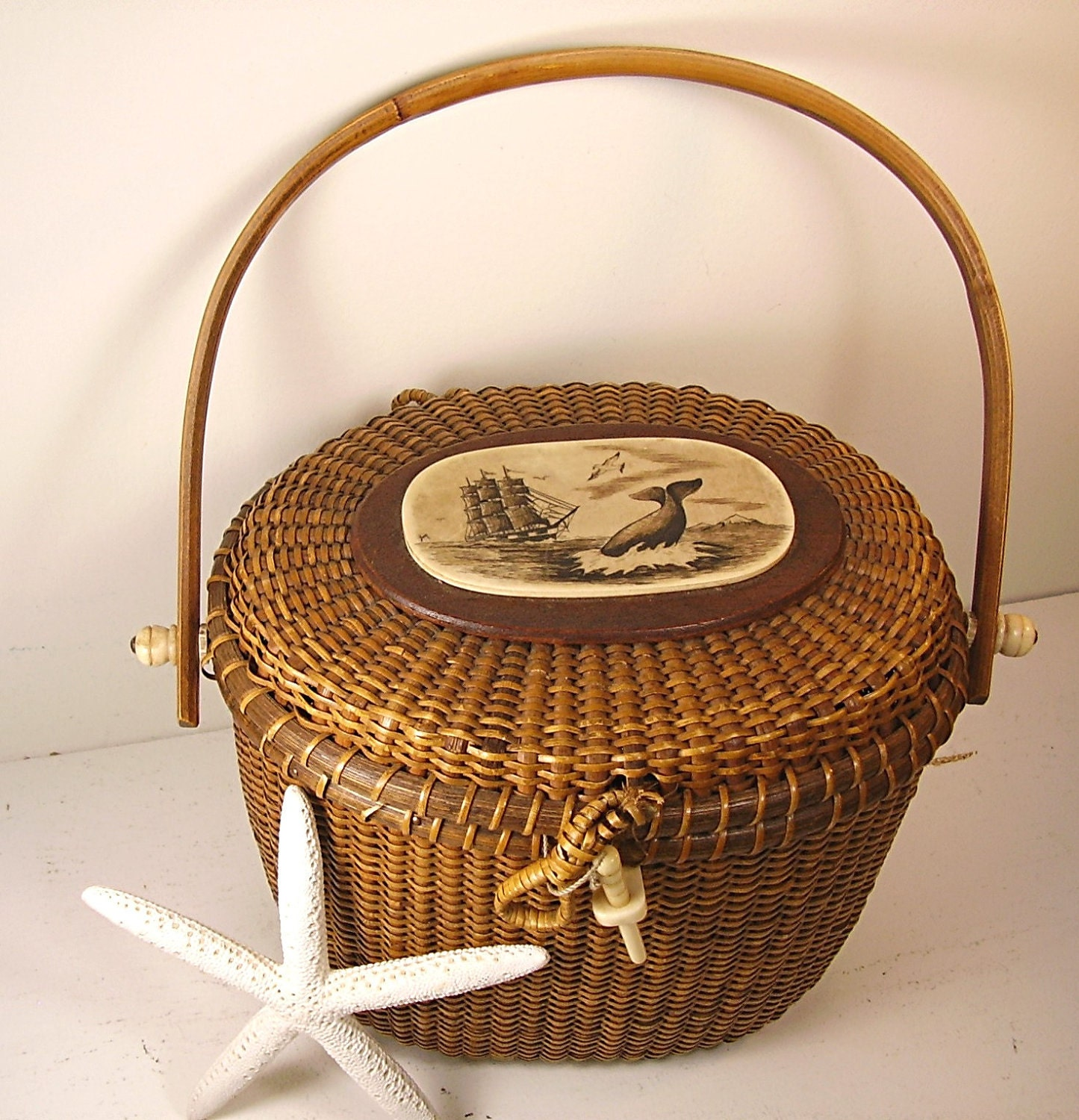 Vintage Basket Nantucket Purse Signed Rare