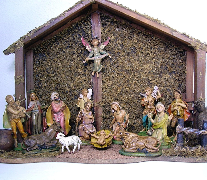 Vintage Fontanini Nativity Set Christmas Wooden Manger Dopose