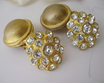Vintage Brushed Gold & Rhinestone Dangling Button Earrings