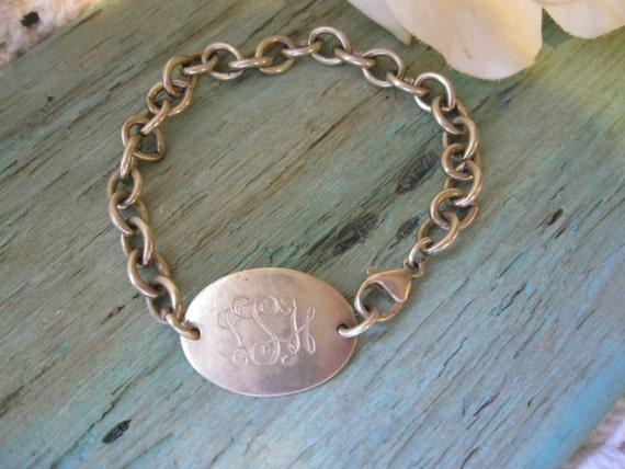Vintage Sterling Silver Monogramed ID Bracelet