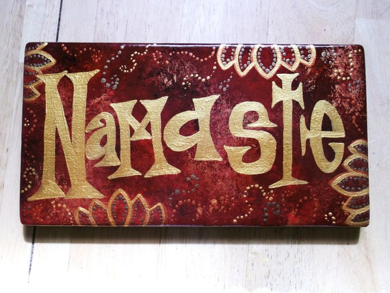 Hand Painted Namaste Sign Home Decor Eastern By Allthingzenergy