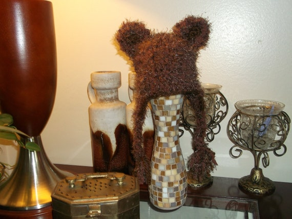 Hand Crocheted Teddy Bear Hat with Earflaps in Brown :) Newborn