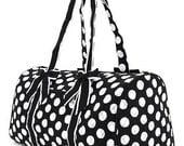"Quilted 21"" Duffle Bag - Large Polka Dots Print - Black/White Polka Dots"