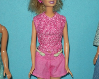 Shorts and Top, in Pink Cotton, fits 11 1/2 inch doll, Ready to Ship