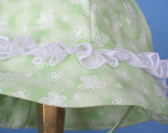 Infant Toddler Sunhat Mint Green with white Butterflies and Lace