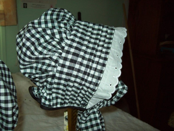 Sun Bonnet, Black Gingham Checked, Tucked Brim,  Size 12-18 months, Clearance Sale