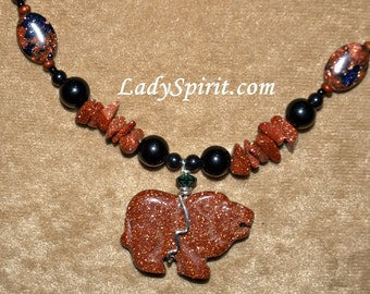 The Copper Lion Necklace in Goldstone