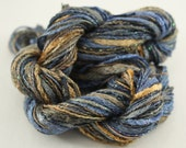 Embroidery Thread Cotton & Rayon Parrot Blue Yellow Green  Hand Dyed Variegated - 7 threads - 5 meters of each.
