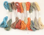 Embroidery thread Stranded Cotton floss mixed media fiber art Variegated Hand dyed 10 skeins 8 meters each