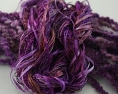 Silk Embroidery ribbon and Thread Wisteria and plum purple Hand Dyed Variegated - 7 silk threads - 5 meters of each