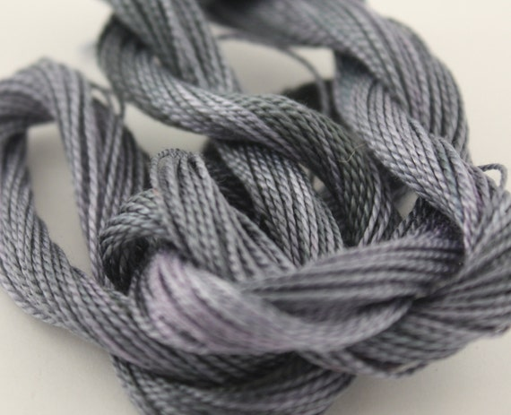 Perle Cotton Size 8 hand dyed crochet cotton yarn embroidery embellishment black grey silver storm  25m skein