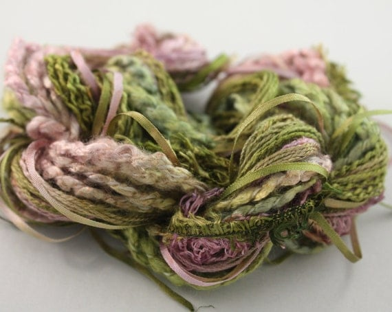 Silk ribbon embroidery Thread forest moss green and plum pink Hand Dyed Variegated - 7 silk threads - 5 meters of each