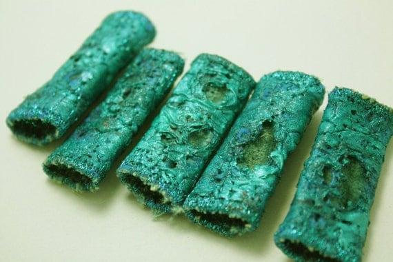 Fiber Bead aqua Teal blue green metallic beads with velvet linning unique embroidered textile art beads