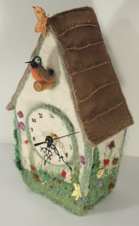 Cuckoo Clock Bird House Blooming Spring Garden Textile Art