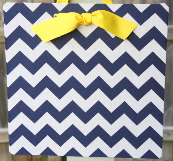Fabric Covered Magnet Board - 12x12 - Navy Chevron