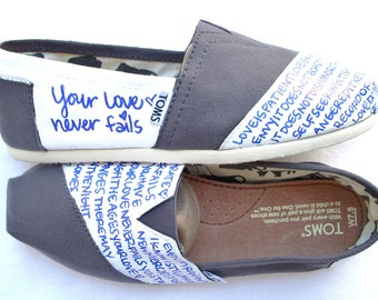 The Ella - Gray and White Custom TOMS
