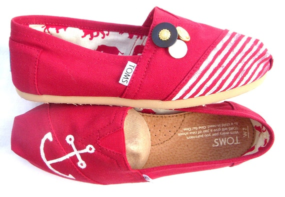 The Sailor - Red and White Custom TOMS