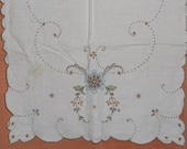 Vintage Runner  - Embroidered Cut-Out Dresser Scarf - Flowers in Blues and Taupe