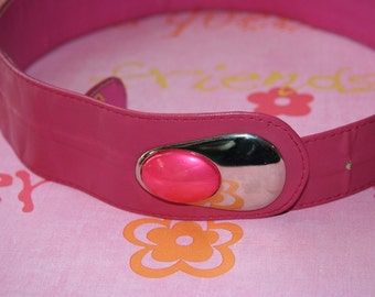 Vintage Leather Belt / Pink with Silver and Pink Metal Buckle