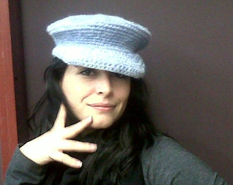 Womens Cap Newsboy Hat Pale Blue Handmade Crocheted Bernat's Berella