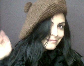 Womens Hat - Slouch Hat, Tam, Brown Mohair, Handmade Crocheted