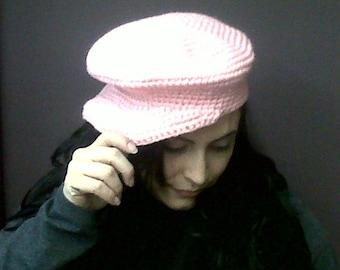 Womens Cap Newsboy Hat Pale Pink Handmade Crocheted Bernat's Berella