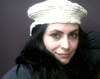 Womens Cap Newsboy Hat Cream and Brown Handmade Crocheted Bernat's Danish Bulky