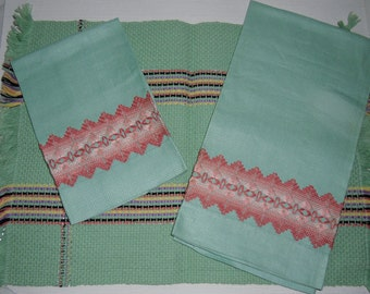 Vintage Towels - Hand Towels, Swedish Needlework, Embroidered Guest Towels, Huck Towels, Salmon Embroidery on Green, Tray Mat