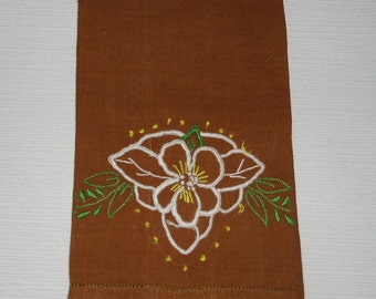Vintage Tea Towel - Chocolate Brown - White Applique