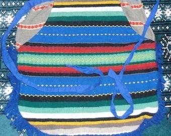 Vintage Apron - Woven Work Apron with Big Pockets - Half Apron - Southwestern Colors