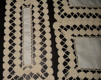 Vintage Linen Mats for DIning Room or Bedroom Cream Linen with Trim