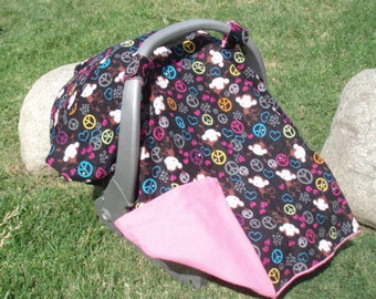 Baby Car Seat Cover Peace Signs and Monkeys ON SALE